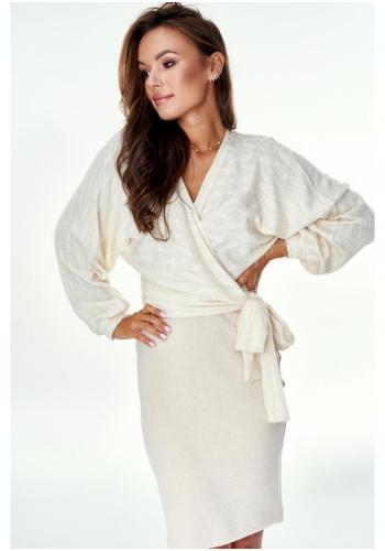 Béžový svetrový komplet sukne a blúzky s obálkovým výstrihom pre dámy