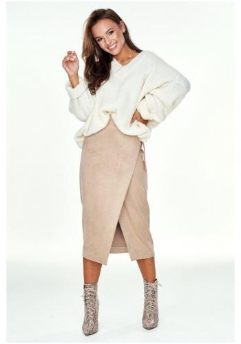 Krémový sveter oversize s V výstrihom pre dámy