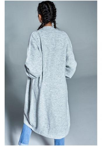 Dámsky dlhý kardigán v sivej farbe