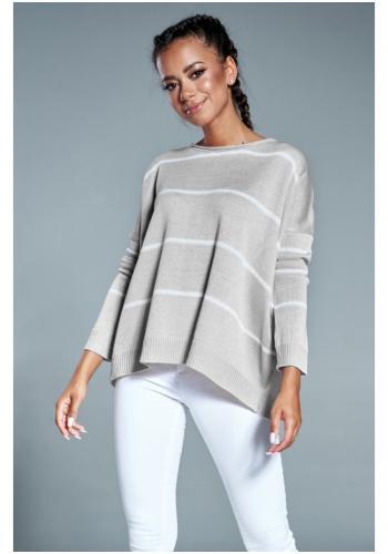 Dámsky oversize sveter v sivej farbe s pruhmi