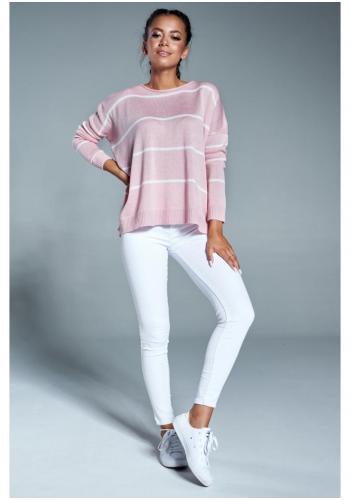 Svetlo ružový oversize sveter s pruhmi pre dámy