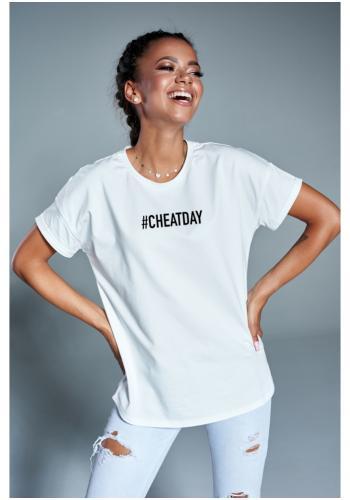"""Dámske klasické tričko s nápisom """" cheat day """" v bielej farbe"""