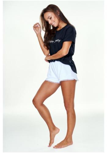 """Dámske čierno - biele pyžamo tričko s nápisom """"SLEEPY BEAUTY"""" a šortky"""