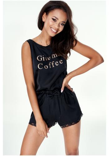 """Saténové dámske pyžamo trička bez rukávu s nápisom """" give me coffee"""" a šortky v čiernej farbe"""