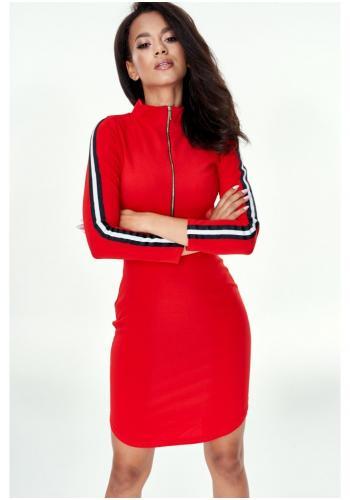 Dámske mini šaty na zips v červenej farbe s pásmi na rukávoch
