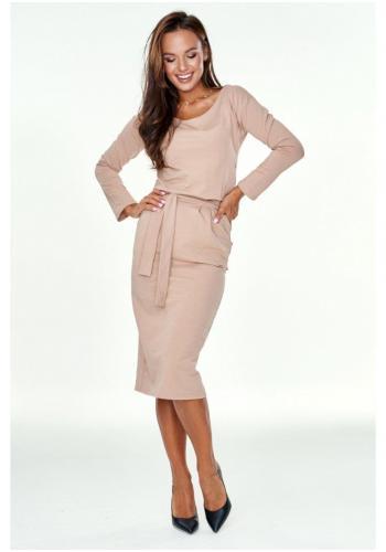 Béžové midi bavlnené šaty tvaru ceruzka s rázporkom na viazanie okolo pásu pre dámy