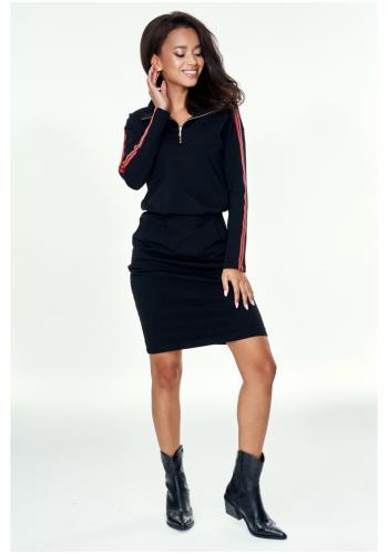 Štýlové mini šaty na zips v čiernej farbe s pásmi na rukávoch pre dámy