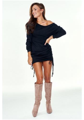 Dámske bavlnené mini šaty na sťahovacie šnúrky po bokoch v čiernej farbe