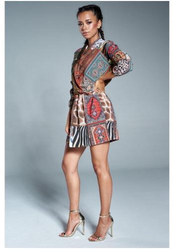 Farebné mini šaty s obálkovým výstrihom v štýle Boho pre dámy