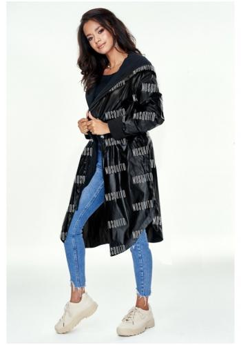 Dámsky dlhý plášť s kapucňou v čiernej lesklej farbe s logom