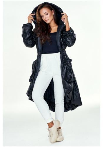 Štýlový dlhý asymetrický plášť s kapucňou v čiernej lesklej farbe pre dámy na zimu
