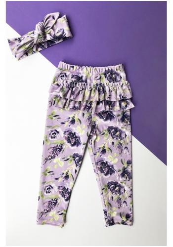 Dievčenské zamatové legíny vo fialovej farbe s motívom kvetov a volánikmi