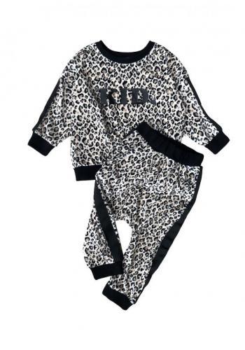 Biele tepláky s leopardím vzorom a pruhom na boku pre dievčatá