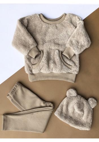 Detská plyšová mikina v béžovej farbe