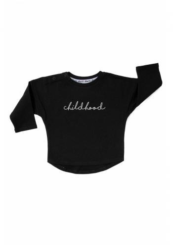 """Detská bavlnená mikina s nápisom """"childhood"""" v čiernej farbe"""