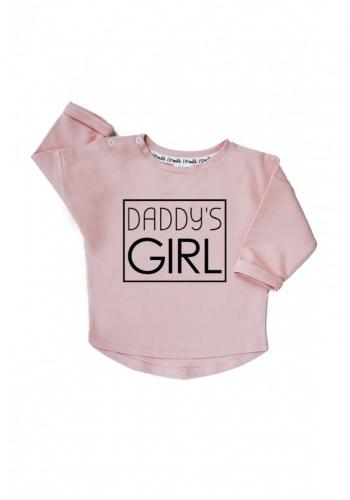 """Dievčenská bavlnená mikina s nápisom """"daddy's girl"""" v ružovej farbe"""