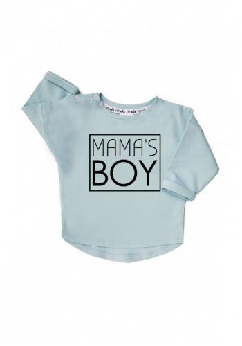 """Chlapčenská bavlnená mikina s nápisom """" mama's boy"""" v modrej farbe"""