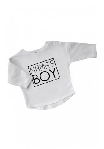 """Biela bavlnená mikina s nápisom """" mama's boy"""" pre chlapcov"""