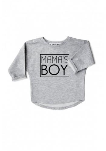 """Chlapčenská bavlnená mikina s nápisom """" mama's boy"""" v sivej farbe"""
