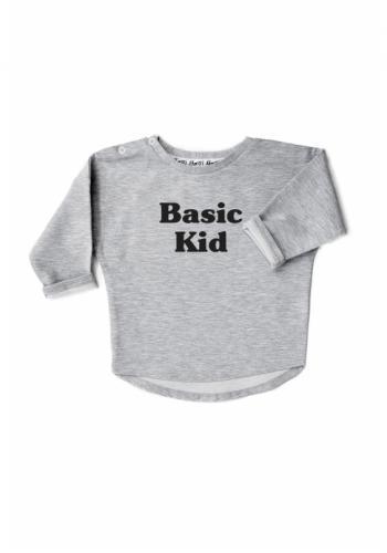 """Detská bavlnená mikina s nápisom """" basic kid"""" v sivej farbe"""