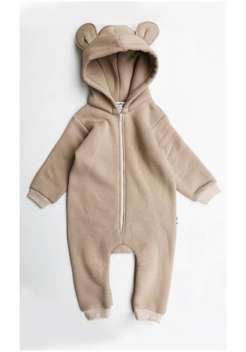 Overal pre deti v béžovej farbe s kapucňou a ušami medveďa na zips