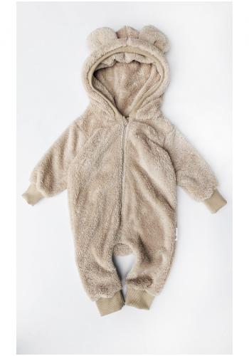 Detský plyšový overal s kapucňou a ušami medveďa na zips v béžovej farbe