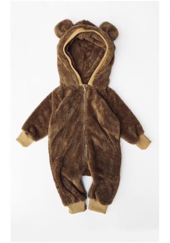 Medový plyšový overal s kapucňou a ušami medveďa na zips pre deti