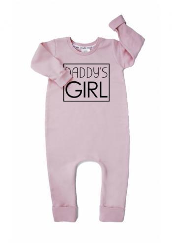 """Ružový bavlnený overal s nápisom """"daddy's girl"""" pre dievčatá"""