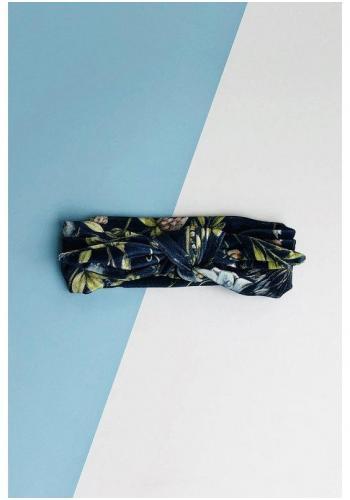 Dievčenská zamatová čelenka s potlačou kvetov v tmavomodrej farbe