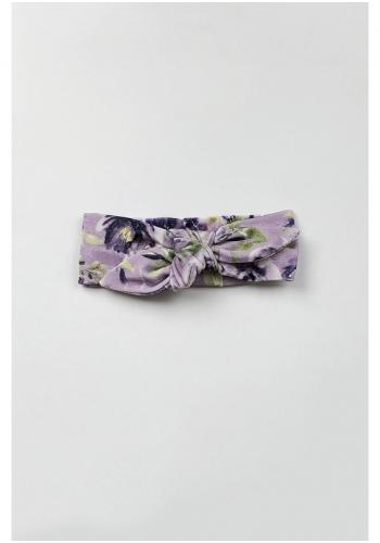 Fialová zamatová čelenka s motívom kvetov pre dievčatá