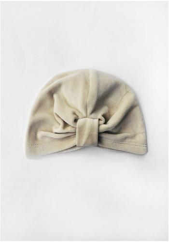 Dievčenská velúrová čiapka v béžovej farbe - turban