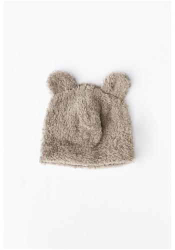 Detská plyšová čiapka s ušami medveďa v béžovej farbe
