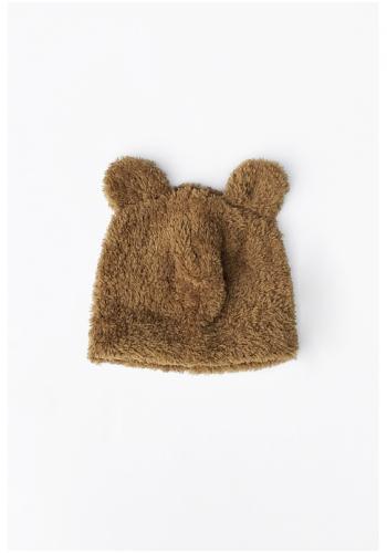 Medová plyšová čiapka s ušami medveďa pre deti