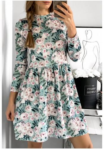 Štýlové zamatové šaty v mätovej farbe s motívom kvetov pre dámy