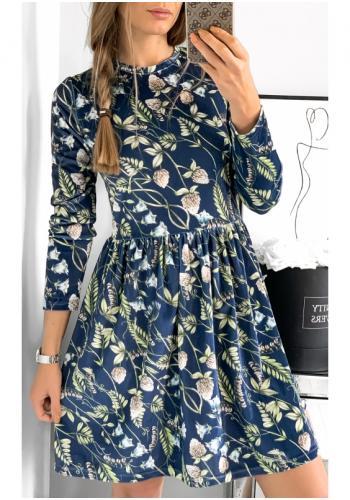 Dámske zamatové šaty v tmavomodrej farbe s potlačou kvetov