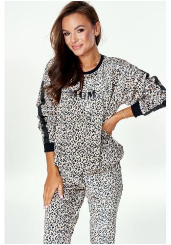 """Biela mikina s leopardím vzorom s nápisom """"MUM"""" a pruhom na rukávoch pre dámy"""
