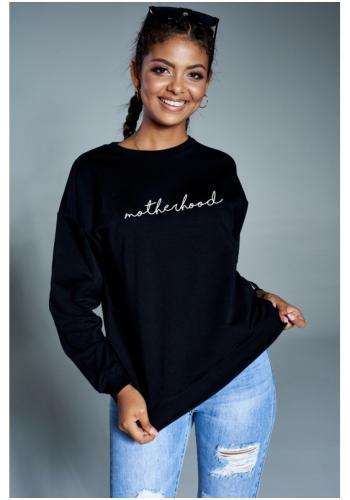 """Dámska bavlnená mikina v čiernej farbe s nápisom """"motherhood"""""""