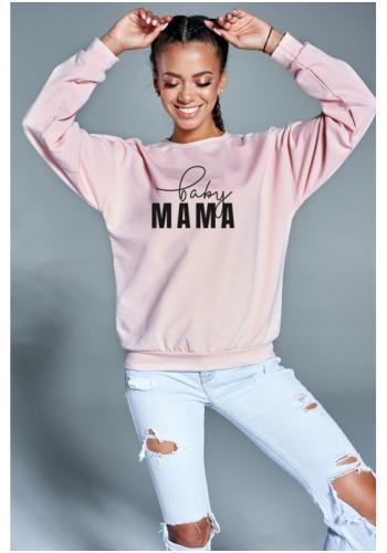 """Svetlo ružová bavlnená mikina s nápisom """"baby mama"""" pre dámy"""