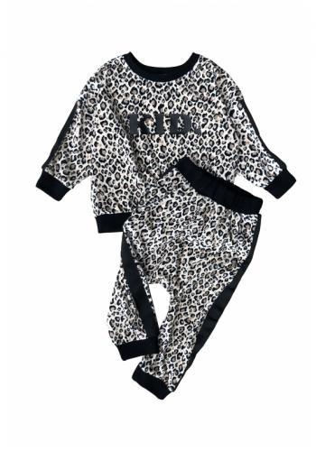 """Biela tepláková súprava s nápisom """" KID """" s leopardím vzorom a pruhami po bokoch pre dievčatá"""