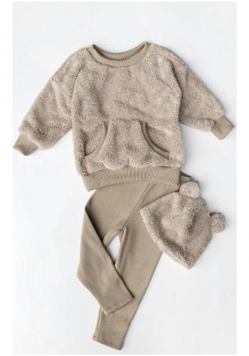 Dievčenský komplet plyšovej mikiny a bavlnených legín v béžovej farbe