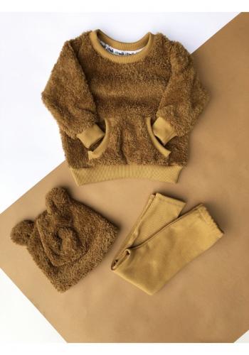 Medový komplet plyšovej mikiny a bavlnených legín pre dievčatá