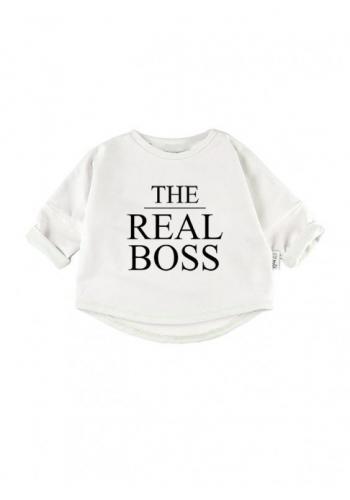 Zostava mikín pre mamu a dieťa bielej farby s nápisom THE BOSS/THE REAL BOSS