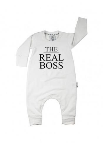Biela zostava dámskej mikiny a detského overalu s nápisom THE BOSS/THE REAL BOSS