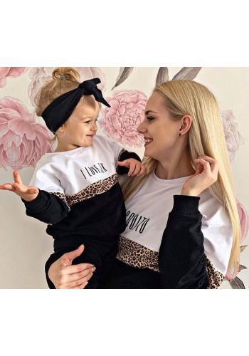Zostava mikín pre mamu a dieťa s trojfarebným vzorom