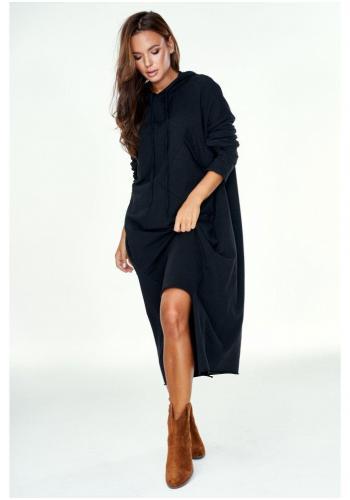 Čierna asymetrická dlhá tunika s kapucňou a vreckami pre dámy