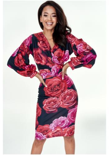 Štýlové vypasované šaty v čiernej farbe s potlačou ruží s V výstrihom pre dámy