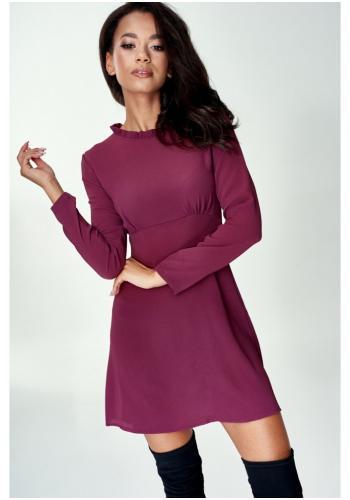 Dámske mini šaty vo fialovej farbe s golierikom okolo krku