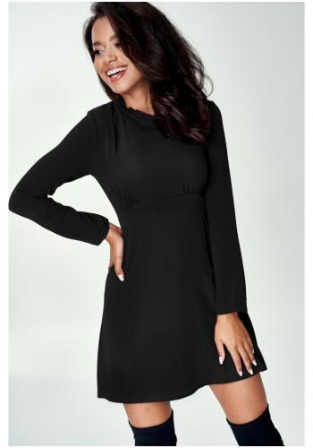 Čierne mini šaty s golierikom okolo krku pre dámy