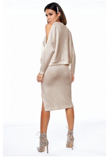 Béžový komplet pletenej sukne a blúzky s odhalenými ramenami pre dámy