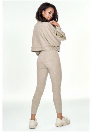Béžová krátka mikina s vreckami pre dámy